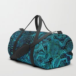 Starry Deep Blue Night Sky , Abstract Geometric Pattern with Moon Lit Domino Stars Duffle Bag
