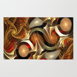 Abstract Red and Gold Rug