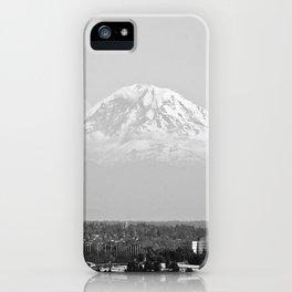 Hovering Mt Rainier in Mono iPhone Case