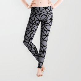 Pantone Lilac Gray and Black Rings Circle Heaven 2, Overlapping Ring Design Leggings