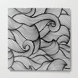 Wavy Curled Pattern Metal Print