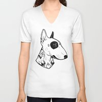 bull terrier V-neck T-shirts featuring Bull Terrier dog Tattooed by PaperTigress
