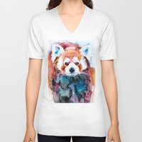 red panda V-neck T-shirts featuring Red panda by Slaveika Aladjova