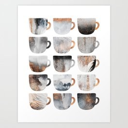 Dreamy Coffee Cups Art Print