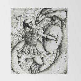 Perseus fighting the sea monster Throw Blanket