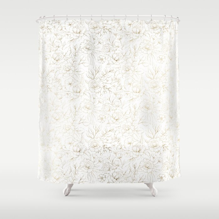Elegant Simple Modern Faux Gold White Floral Shower Curtain