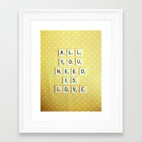 all you need is love Framed Art Prints featuring All You Need is Love by happeemonkee