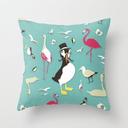 Party Birds - Pattern Throw Pillow
