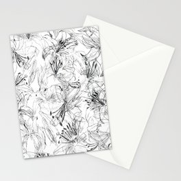 lily sketch black and white pattern Stationery Cards