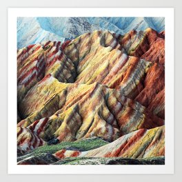 Rainbow mountain abstract artistic colorful mountain Art Print