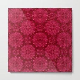 Red monochrome ornament . Metal Print