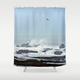 Floating above the crashing waves Shower Curtain