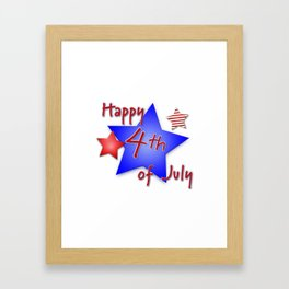 Happy 4th of July Stars - Independence Day Framed Art Print