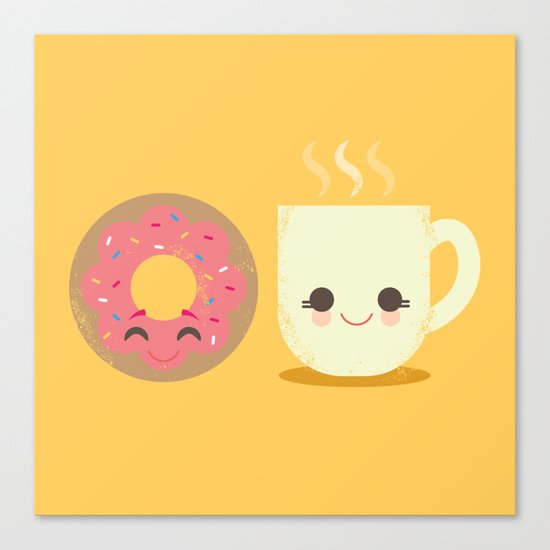 Coffee and Donut Buds Canvas Print