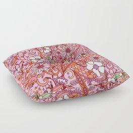 Daisy and Bellflower pattern, pink Floor Pillow