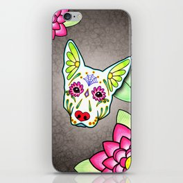 German Shepherd in White - Day of the Dead Sugar Skull Dog iPhone Skin