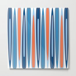 Mid Century Modern Vintage Inspired Stripes in Classic Blues and Muted Orange Metal Print