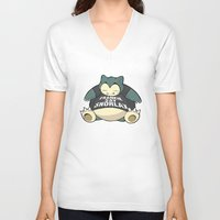 snorlax V-neck T-shirts featuring Frankie Say Snorlax by The Geekerie