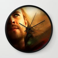 thor Wall Clocks featuring Thor by Kate Dunn