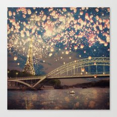 Love Wish Lanterns over Paris Canvas Print