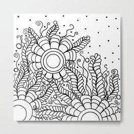 Doodle Art Three Flowers Vines – Black and White Metal Print