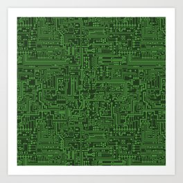 Circuit Board // Light on Dark Green Art Print