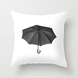 black umbrella with curved handle Throw Pillow