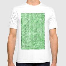 Stockinette Green MEDIUM Mens Fitted Tee White