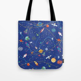 Space Rocket Pattern Tote Bag