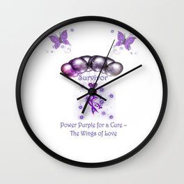 Power Purple For a Cure - The Wings Of Love - Survivor Wall Clock