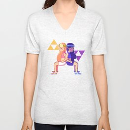 zelda and hilda wall sit  Unisex V-Neck