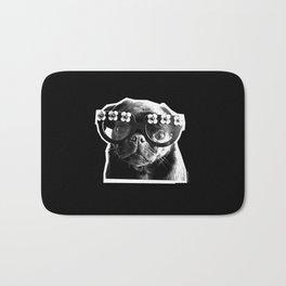 PUG SUKI - FLORAL SPECS - BLACK AND WHITE Bath Mat