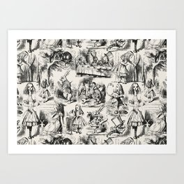 Alice in Wonderland | Toile de Jouy | Black and Beige Art Print