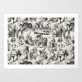 Alice in Wonderland | Toile de Jouy Pattern | Black | Beige | Vintage Pattern | Victorian Gothic | Art Print