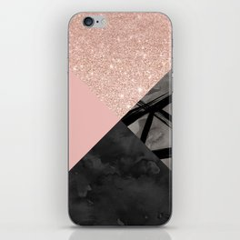 Modern pastel pink black strokes watercolor color block iPhone Skin