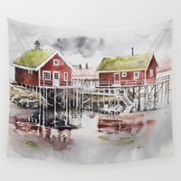 norway Wall Tapestries featuring Rorbu huts in Norway by Karolina Ostrowska
