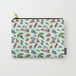 Guinea Pig Pattern in Mint Green Background with mix berries Carry-All Pouch