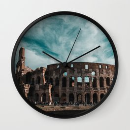 Italy Photography - The Colosseum Surrounded By Tourists Wall Clock