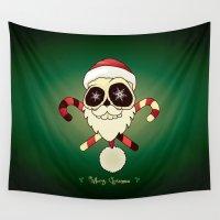 santa Wall Tapestries featuring Santa skull by mangulica