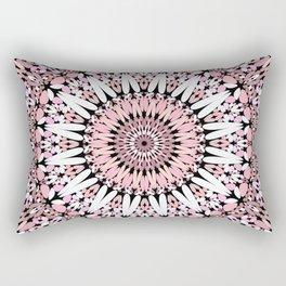 Pink Floral Gravel Mandala Rectangular Pillow