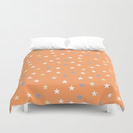 Peach Pastel Background With Stars Duvet Cover