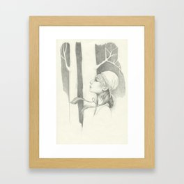 a girl in a wood Framed Art Print