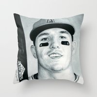 trout Throw Pillows featuring Mike Trout by emilypaints