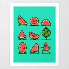Watermelon Yoga Art Print