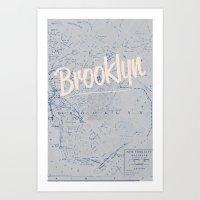 brooklyn Art Prints featuring Brooklyn by Dweezle