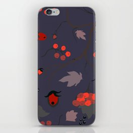 Red berry, Christmas Brier Spray Pattern iPhone Skin