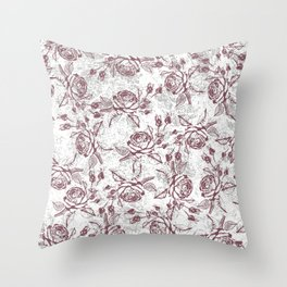 Vintage white gray burgundy floral marble Throw Pillow