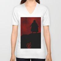 vendetta V-neck T-shirts featuring V for Vendetta (e3) by Ezgi Kaya