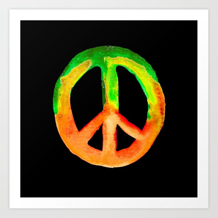 Green Orange Yellow Watercolor Tie Dye Peace Sign Art Print By