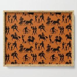 Greek Figures // Dark Orange Serving Tray